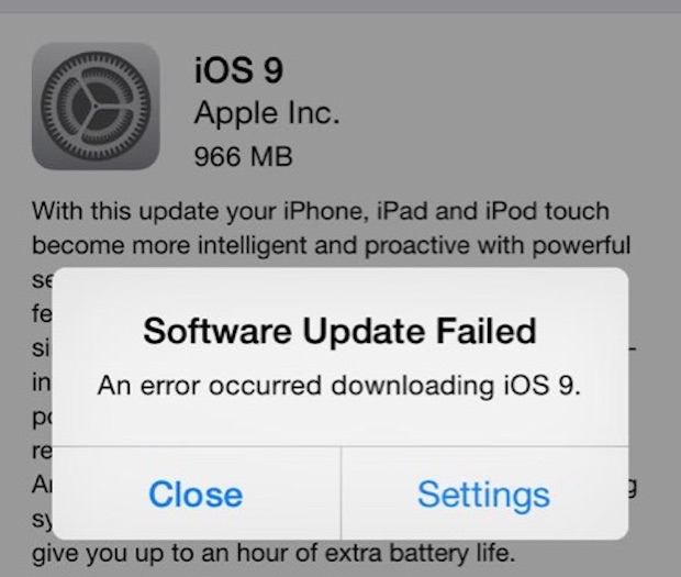 Software Update Failed