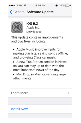 Cara Paling Mudah Install Update iOS 9.2 di iPhone, iPad atau iPod Touch