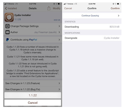 Downgrade Cydia 2