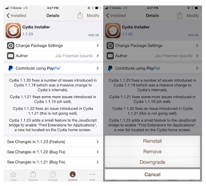 Downgrade Cydia