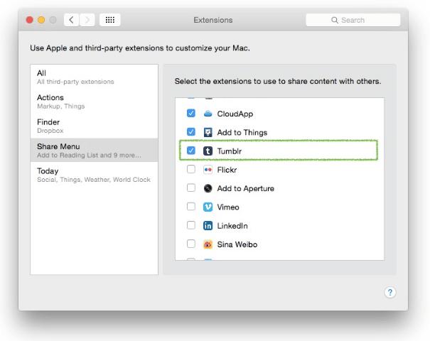 Cara Mudah Menambahkan Extension Share ke Tumblr di OS X Yosemite 1