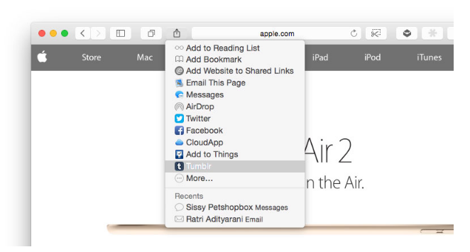 Cara Mudah Menambahkan Extension Share ke Tumblr di OS X Yosemite 2