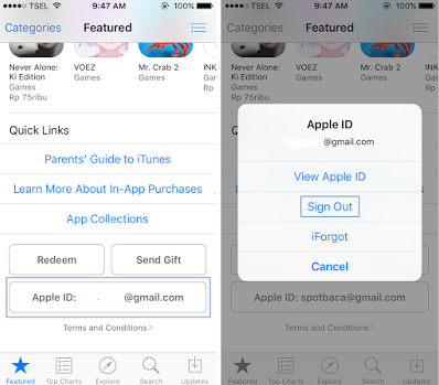 Sign Out Apple ID di App Store