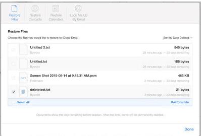 Cara Restore File di iCloud.com